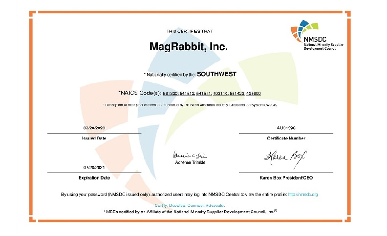 MagRabbit NMSDC Certificate